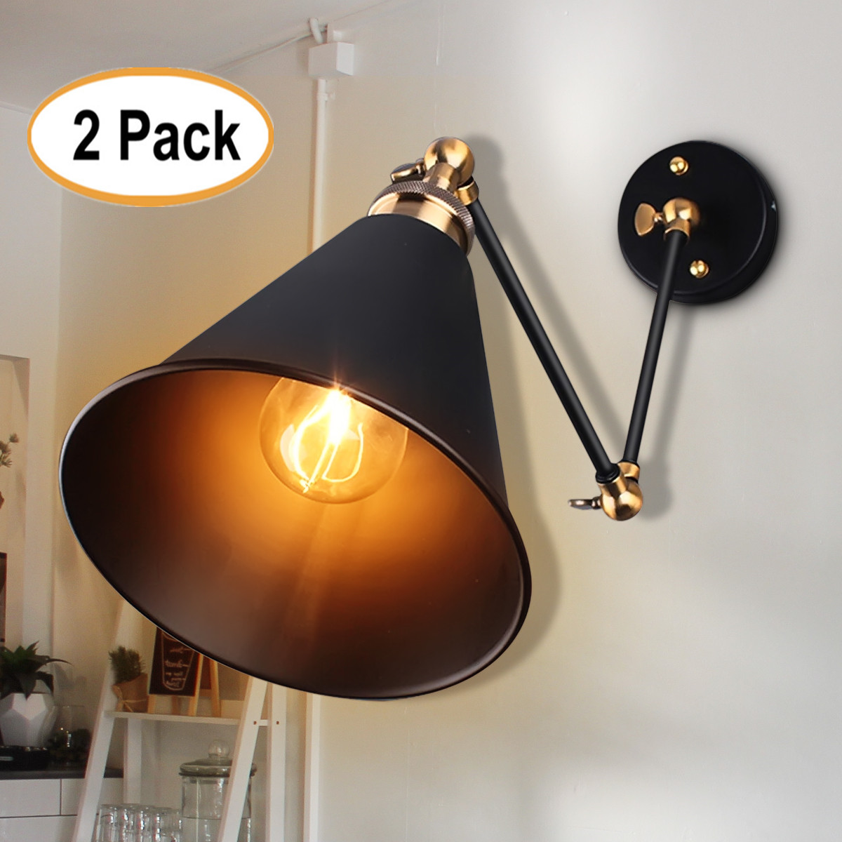 (No Fix) 2Pcs Industrial Vintage 270° Swing Arm Wall Sconce Wall Lamp E27 Light Fixture For Home Coffee Shop