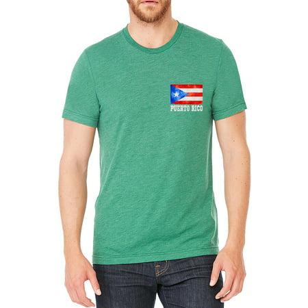 a9c8654223f interstate-apparel-inc - Men's Puerto Rico Flag Chest Green Tri Blend T- Shirt C2 Small Green - Walmart.com