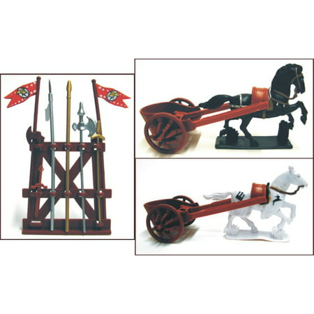 1/32 Roman Chariot Playset (2 w/2 Horses, Weapons) (Bagged)