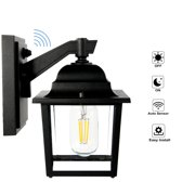 HLL&AOB Dask to Dawn Sensor Outdoor Wall Lantern, Exterior Wall Sconce, Wall Mount Light, Modern Decorative Lamp, Waterproof Porch Light with Clear Glass Shade 9048LS (LED Bulb Included)