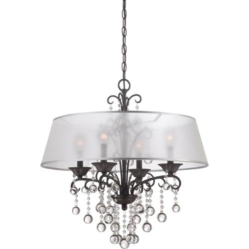 Quoizel Carrabelle French Bronze and Crystal Drop 4-light Chandelier by Overstock