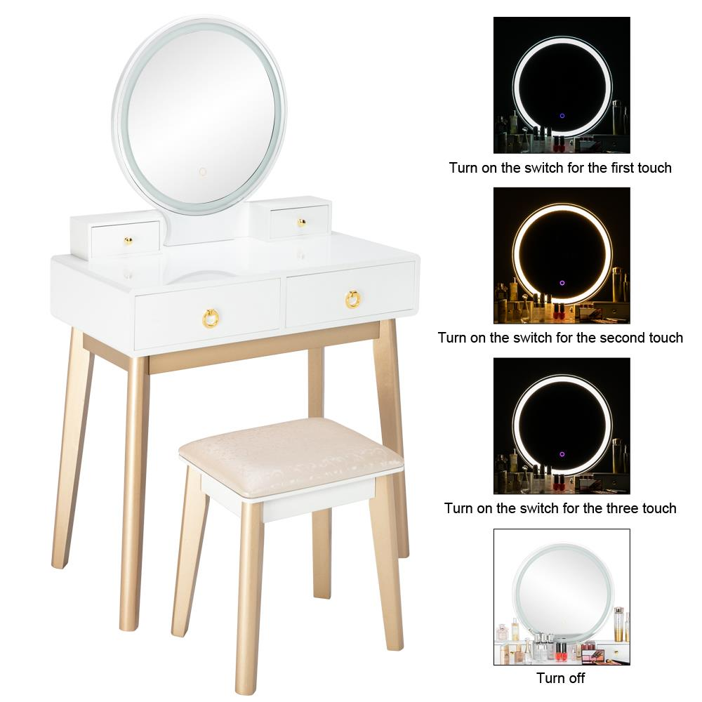 Ktaxon Vanity Table Set With Round Mirror For Girls White Bedroom Dressing Table With Vanity