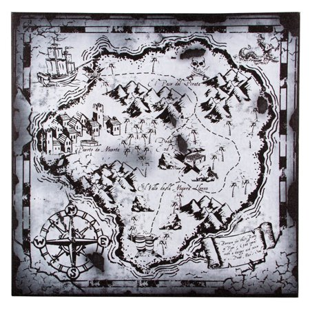 Black and White Pirate Treasure Hunters Map 18 Inches Canvas Wall Decor
