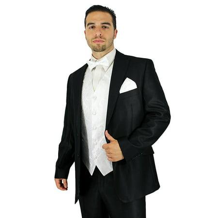 Enimay Men's Combo Pack 3pc Set Paisley Vest Bowtie Hankerchief White Size M