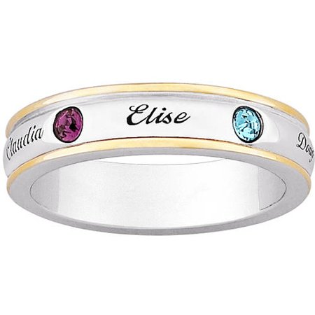 Personalized 2 Tone Mothers Name   Inlaid Birthstone Sterling Silver Band