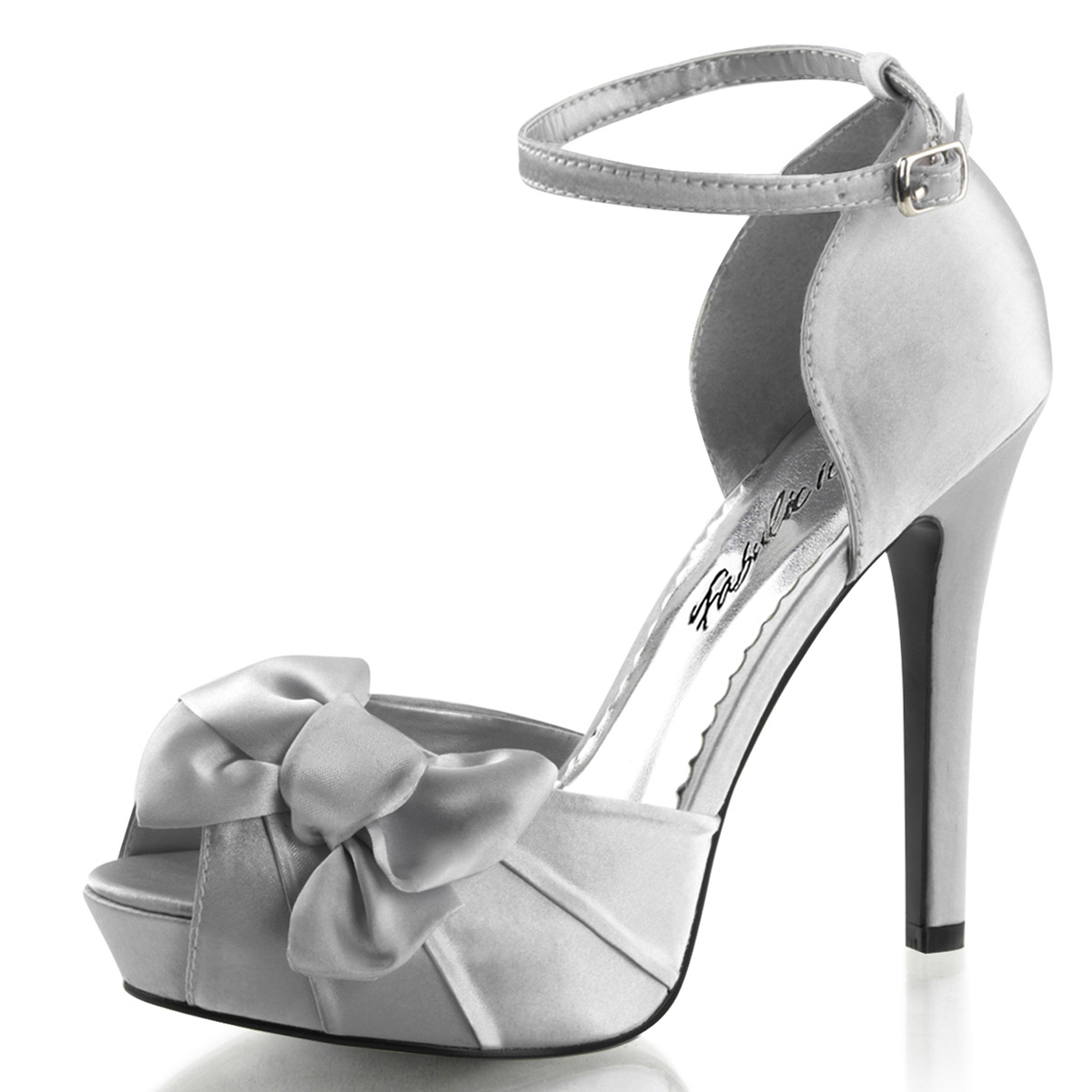 Womens Single Strap Heels D'Orsay Pump Peep Toe Shoes Satin Bow 4 3/4 Inch Heel