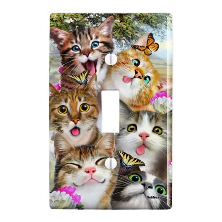 Cats and Butterflies Selfie Plastic Wall Decor Toggle Light Switch Plate (Butterfly Light Switch)