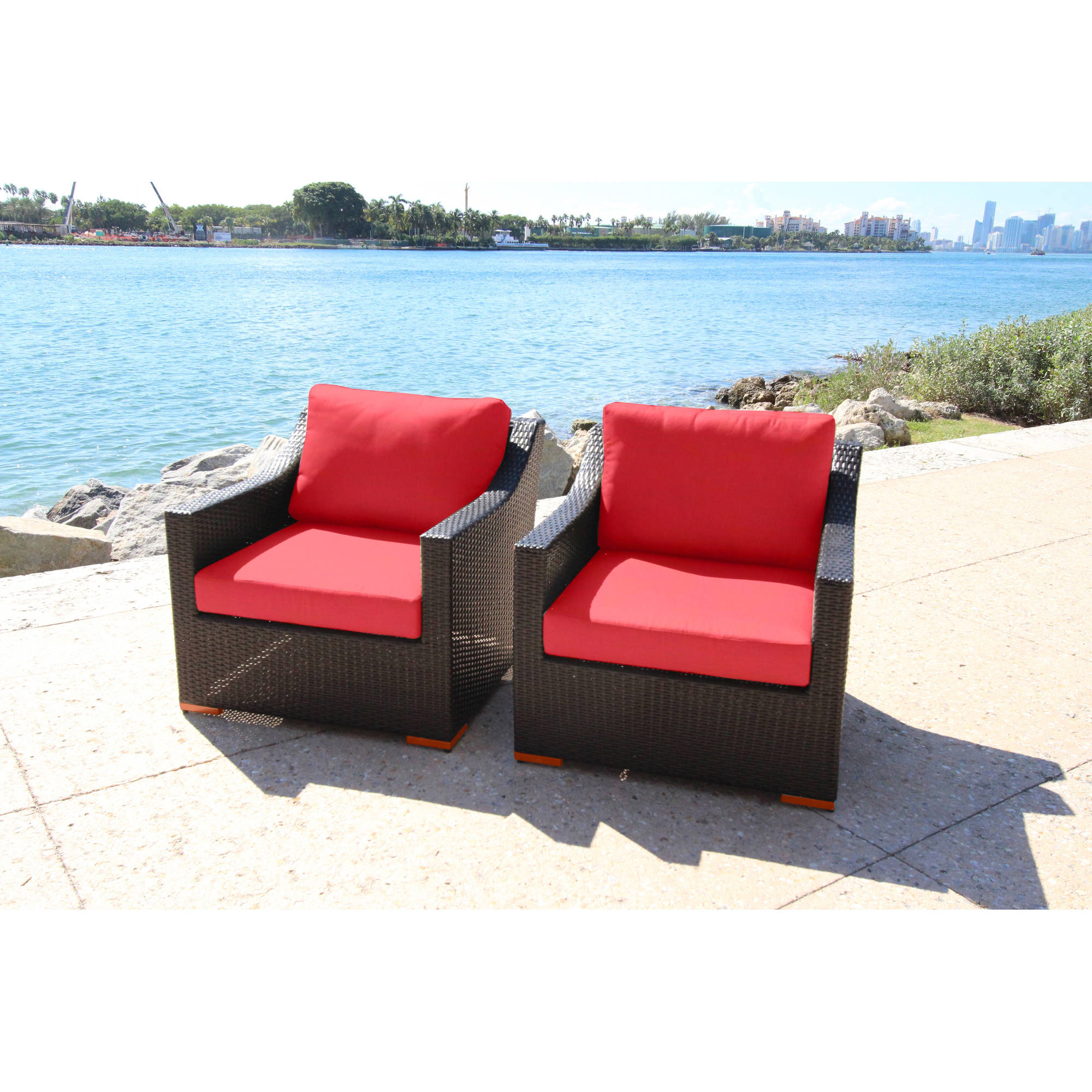 Bellini Home and Garden Cava Deep Seating Club Chairs, Set of 2