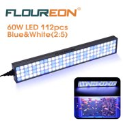 Floureon 60W 112pcs LED Aquarium Light Fish Coral Reef Tank Marine Lamp SMD2835 WhiteBlue