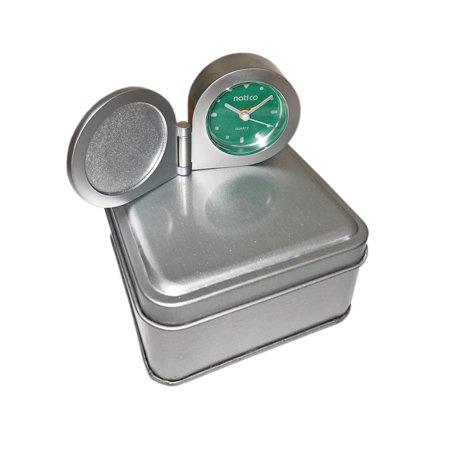 Monogram Online TIN Matte Silver Round Travel Clock w/Alarm - Round Monogram