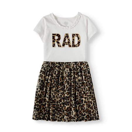 Tulle Little Girl Dresses (Wonder Nation Short Sleeve Pleated Skirt Dress (Little Girls, Big Girls and Big Girls)
