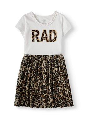 Wonder Nation Short Sleeve Pleated Skirt Dress (Little Girls, Big Girls and Big Girls Plus)