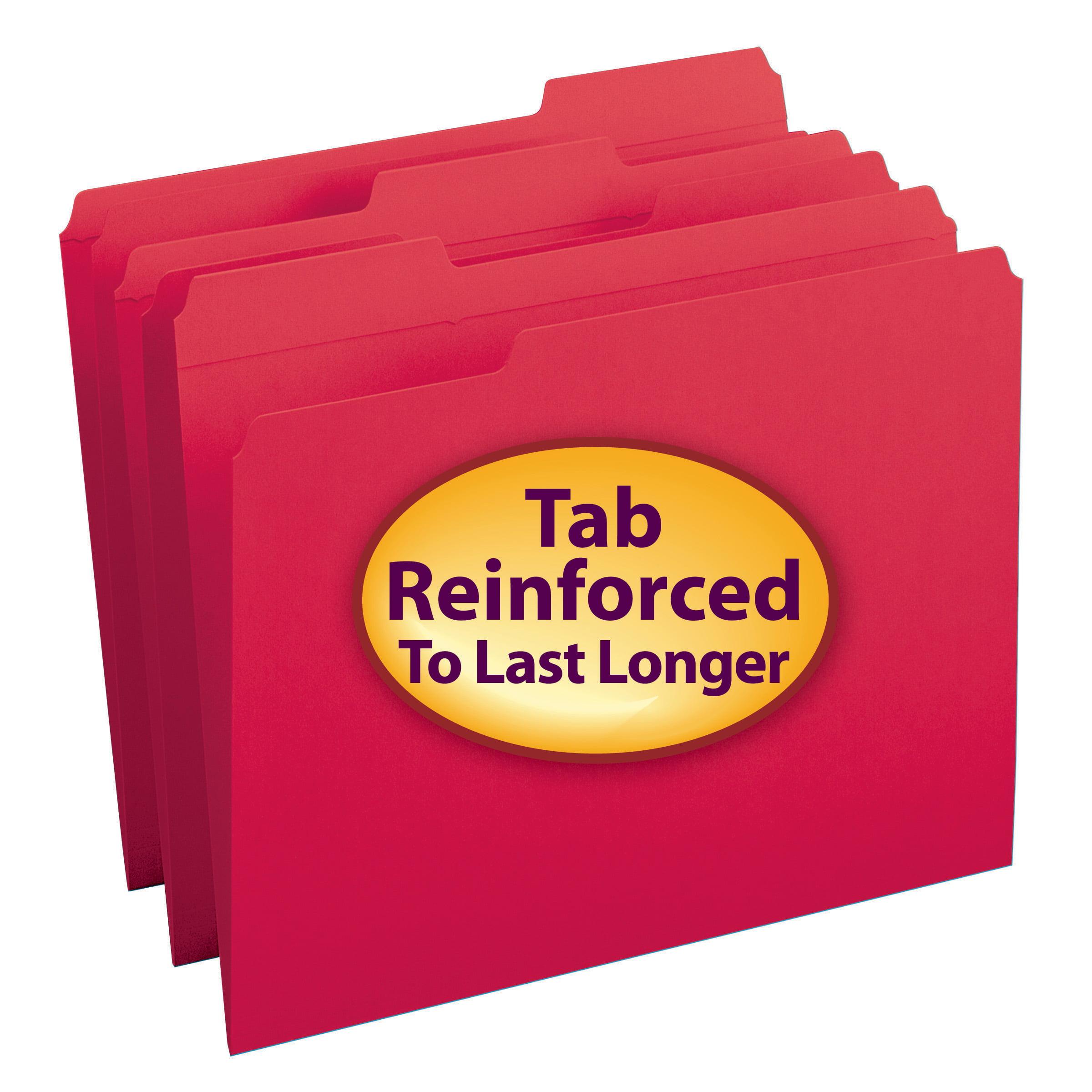 Smead File Folder, Reinforced 1/3-Cut Tab, Letter Size, Red, 100 per Box (12734)