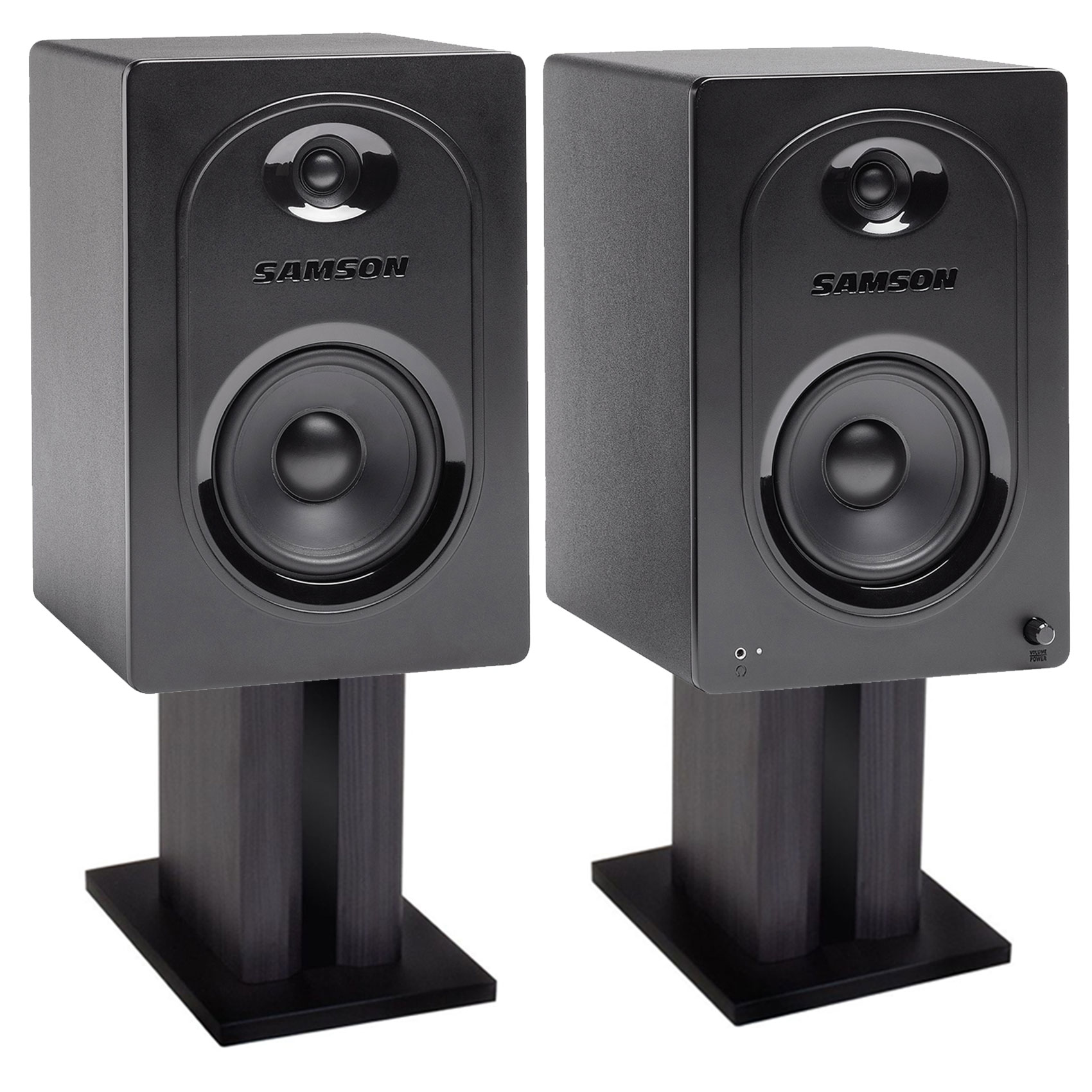 2 Samson M50 5 Studio Computer Podcast Reference Monitors Speakers