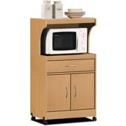 Hodedah Microwave Cart With One Drawer Two Doors And Shelf For Storage Beech