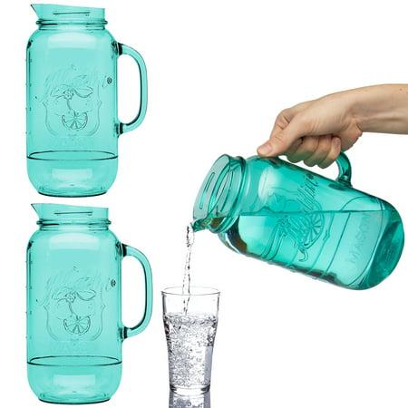 Aladdin (3 Pack) Mason Jar Plastic Drink Pitcher 2.5 Quart Water Carafe Set For Serving Juice Iced Tea Lemonade Juice Beverage - Plastic Carafe