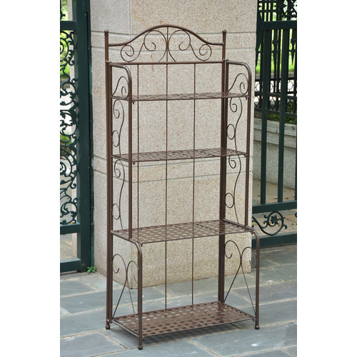 International Caravan Mandalay 4 Tier Iron Bakers Rack in Matte Brown