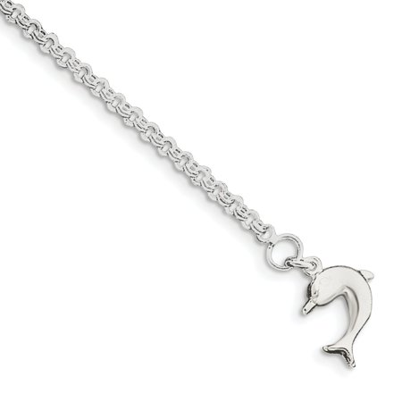 Roy Rose Jewelry Sterling Silver Hollow Polished 3-Dimensional Dolphin Anklet 9''