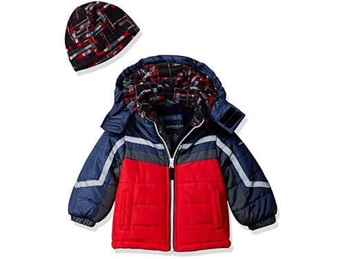LONDON FOG Boys Active Heavyweight Jacket with Ski Cap