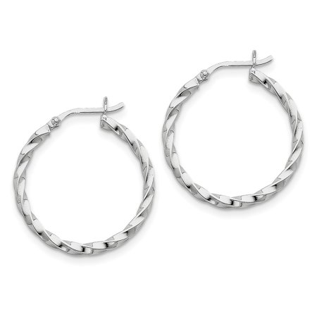 Sterling Silver Hollow Hinged Polished Rhodium-plated Twisted 30mm Hoop Earrings - 1.8 Grams