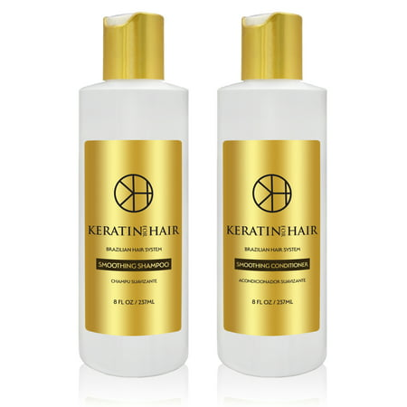Keratin for Hair Smoothing Sulfate Free Shampoo & Conditioner Set with Complex Vitamins Argan Oil Sulfate Free Hair Regrowth Treatment for Hair Loss Frizzy Curly Thinning Hair, Unisex   8 fl
