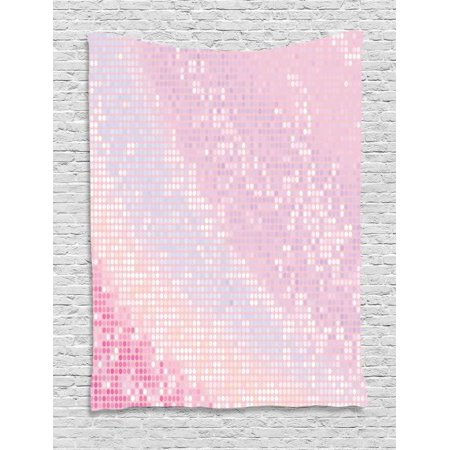 Modern Tapestry, Abstract Pattern in Pastel Pink Tones Disco Ball Style Party Theme Artwork, Wall Hanging for Bedroom Living Room Dorm Decor, 40W X 60L Inches, Light Pink Baby Pink, by Ambesonne