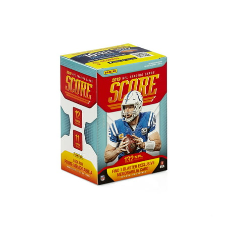 2019 Panini Score NFL Football Trading Cards Blaster Box-11ct NFL Collectible Cards | 12 rookies, 4 parallels, and 20 inserts per box on average and 1 memorabilia card in every other box (1990 Rookie Traded Trading Card)