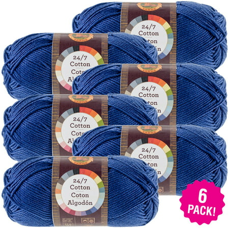 Lion Brand 24/7 Cotton Yarn - Navy, Multipack of 6 ()