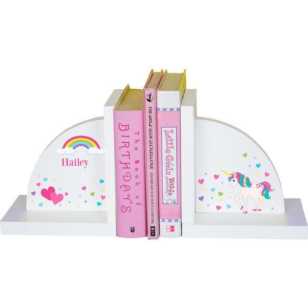 Personalized unicorn Childrens Bookends