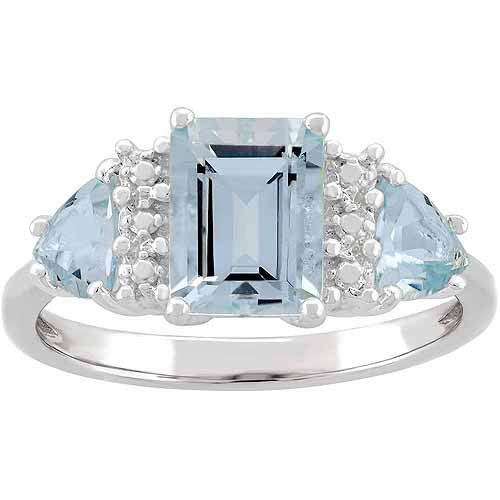 Aquamarine Sterling Silver Side Trillions and Emerald-Cut Center Three-Stone Ring