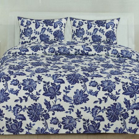 Tuscany Navy Floral Pattern 3-Piece Duvet Cover Set ()