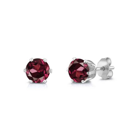2.00 Ct Round Red Rhodolite Garnet Silver Plated 6-prong Stud Earrings 6mm - image 1 of 1