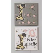 Blossom and Buds Giraffe' by Rachelle Anne Miller Set on Canvas Set (Set of 2)