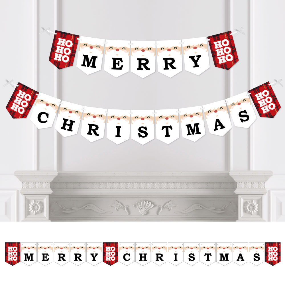 Jolly Santa - Christmas Party Bunting Banner - Merry Christmas