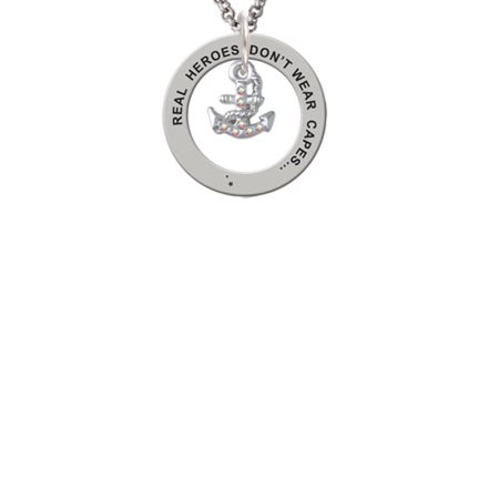 Silvertone Mini AB Crystal Anchor Real Heroes Teach Affirmation Ring Necklace ()