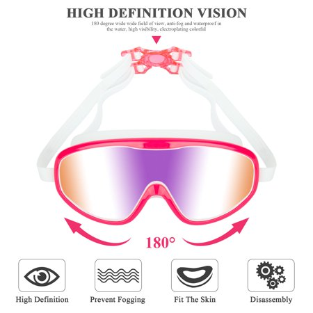 Anyprize Swimming Goggles for Kids, Pink Waterproof Big Frame Swimming Goggles for Child, Anti-fog Wide-vision Swim Goggles for Children with UV Protection