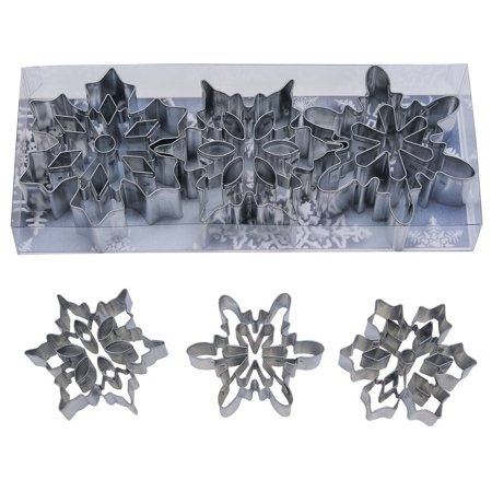 Snowflake Cookie Cutter - R&M International 1920 Snowflake Cookie Cutters with Interior Cut-Outs, 3