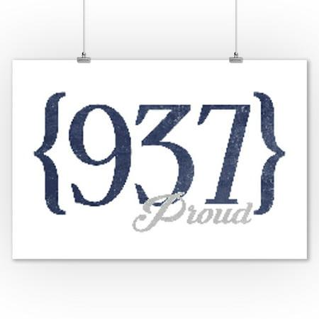 Cincinnati, Ohio - 937 Area Code (Blue) - Lantern Press Artwork (9x12 Art Print, Wall Decor Travel Poster) ()