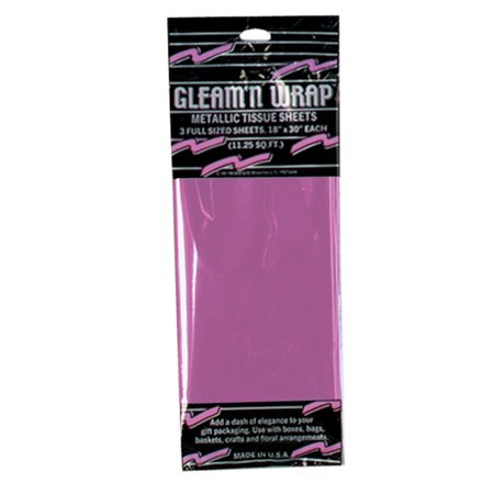Club Pack of 36 Cerise Gleam 'N Wrap Decorative Metallic Sheets (Club Tissue)