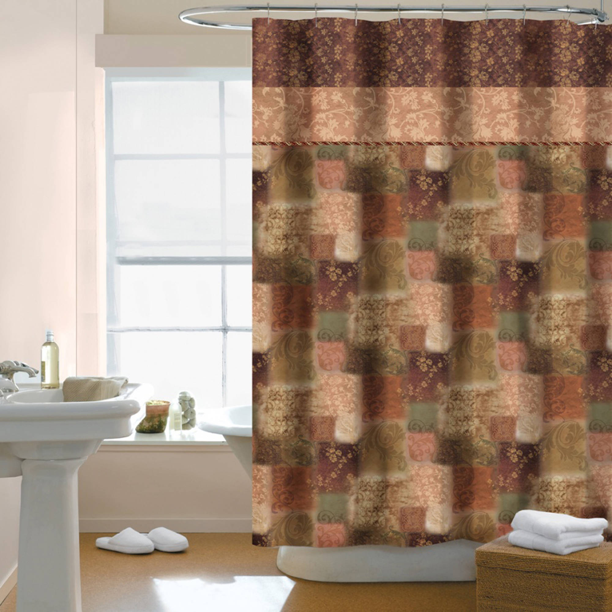 Fleur Fabric Shower Curtain, Spice