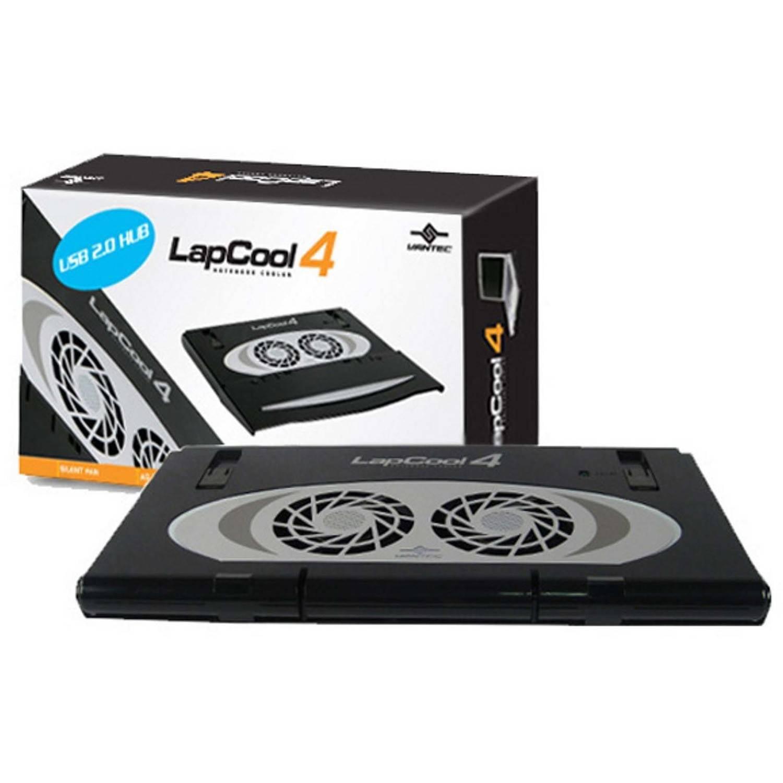 Vantec LPC-420 LapCool 4 Foldable Laptop Cooler, Black