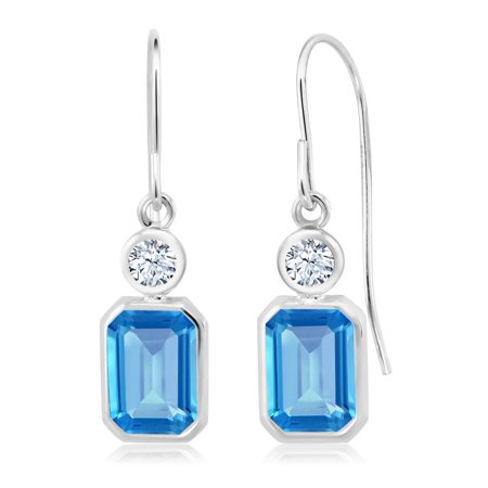 2.20 Ct Swiss Blue Topaz White Created Sapphire 925 Sterling Silver Earrings Citrine & Sapphire Round Earrings