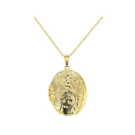 Gold Tone Oval Floral Design Photo Locket Memory Pendant Necklace 19