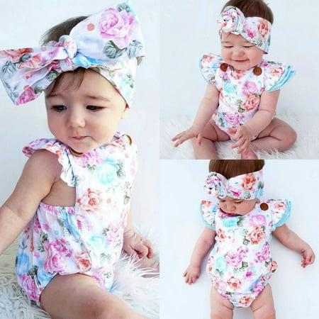 - Adorable Baby Girls Floral Romper Bodysuit One-pieces Summer Clothes Sunsuit Set