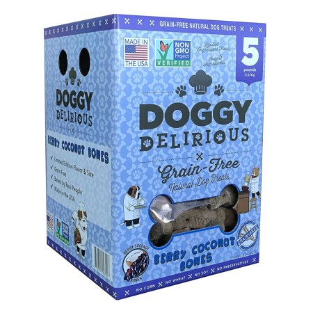 Doggy Delirious Grain Free Natural Dog Treats, Baked in the USA, Non-GMO, 5 lbs](Doggy High Five)