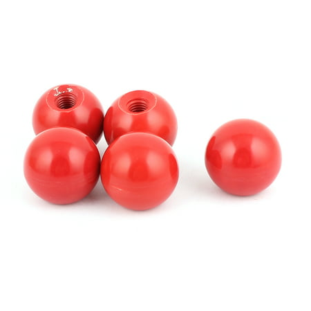 Unique Bargains Machine Tool Handle 10mm Threaded Red Plastic Ball Knobs 35mm Dia 5Pcs - image 1 of 1