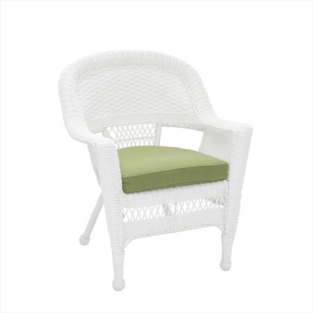 Wondrous Jeco W00206 C Fs029 White Wicker Chair With Green Cushion Gmtry Best Dining Table And Chair Ideas Images Gmtryco