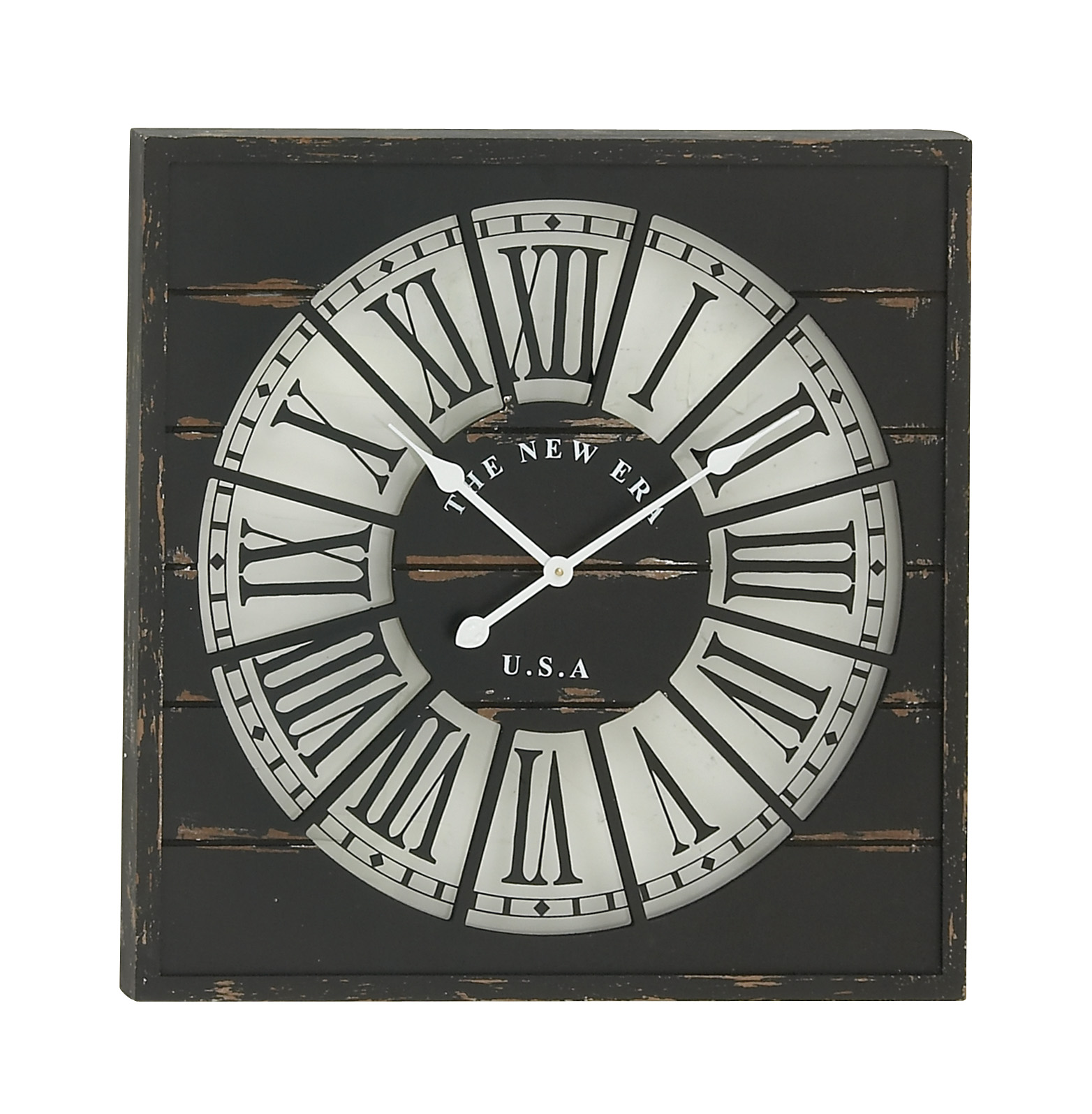 Decmode Traditional Wooden Square Wall Clock
