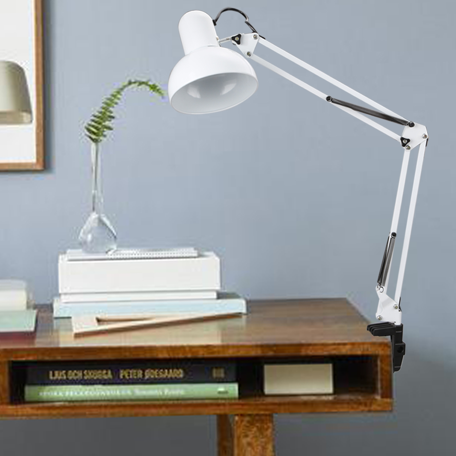Homdox Adjustable Eyes Care Clamp Table Desk Lamp Light Swing Arm Lamp by