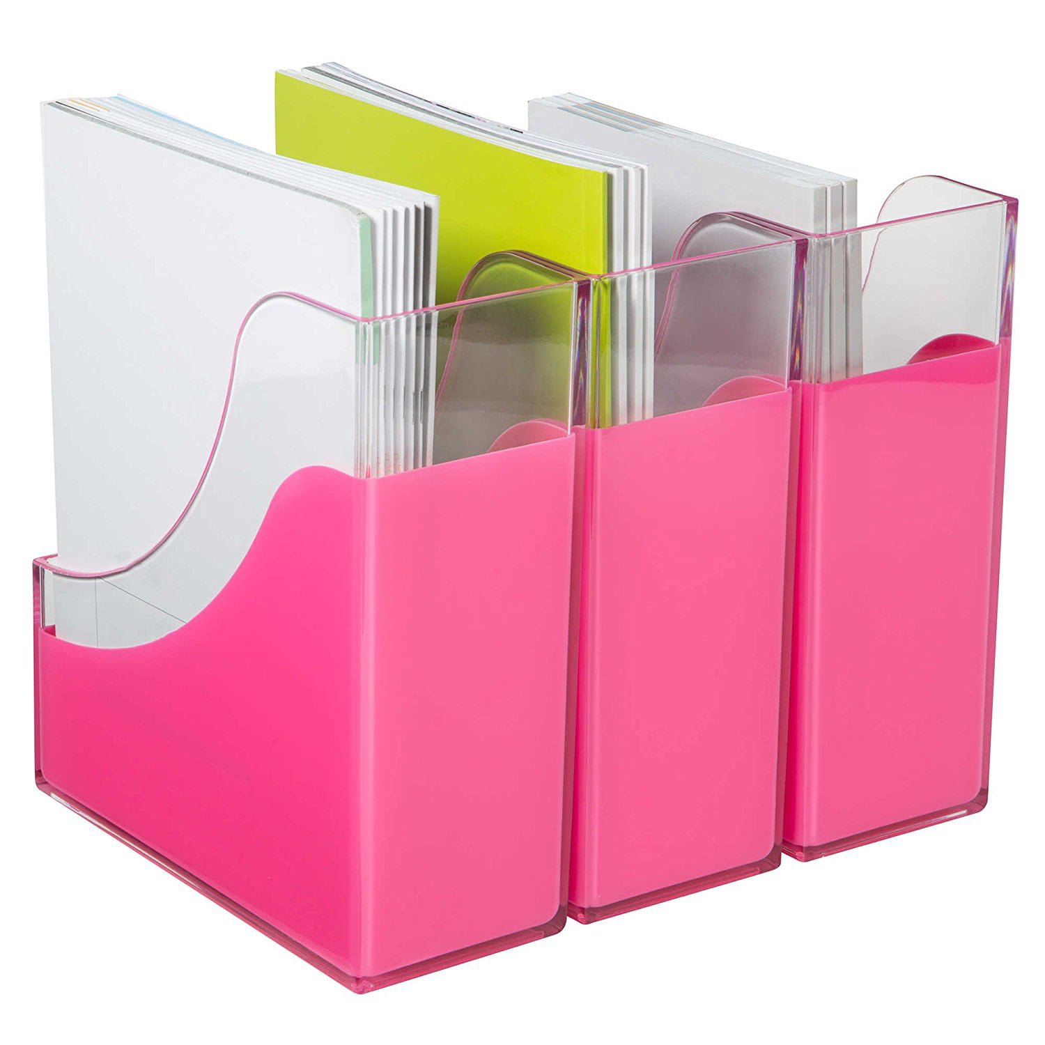 Modern Desk Organizer Stackable Letter Tray, Set of 3 - Clear / Lime ...